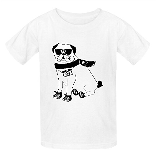 Chas Hipster Pug Cute Dog Cartoon Character Puggle Unisex Crew Neck T-shirt