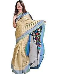 Exotic India Plain Silver-Gray Banarasi Sari With Kadwa Anchal - Black