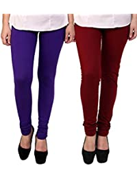 BrandTrendz Purple And Maroon Cotton Pack Of 2 Leggings
