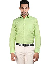 Oxemberg Men's Solid Formal 100% Cotton Lime Shirt