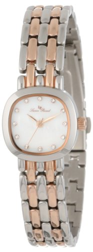 Lucien Piccard Women's 12012-SR-02MOP Teide White Mother-Of-Pearl Dial Crystal Accented Two Tone Stainless Steel Watch