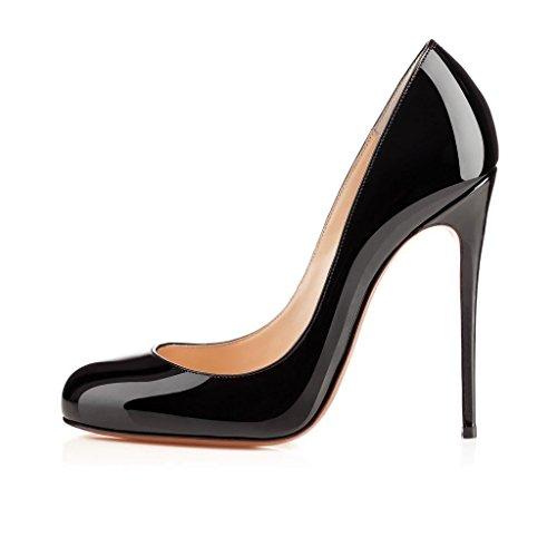 Arc-en-ciel scarpe da donna tacco alto punta rotonda -black-us10