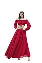 Two-Piece Dress Latin Collar Dress (TMB7182_Wine Red_Large)