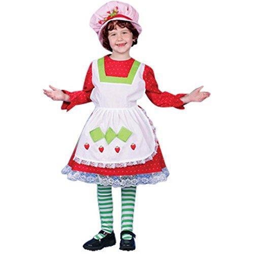 Deluxe Child's Strawberry Shortcake Costume Dress (Size: Small 4-6) (Strawberry Shortcake Hat)