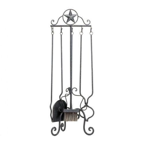 Western-Style Iron Fireplace Tools Set