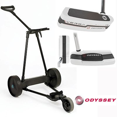 New! Emotion E3 23Lbs Pull Push Electric Motorized 3-Wheel Golf Cart Trolley + New! Odyssey Versa White #1 Putter