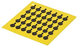 Lodge AS7S21 Silicone Square Trivet with Black Logo Skillets, Yellow
