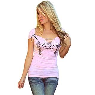 Hemd, Oyedens Sommer Frauen Sexy Engel FlüGel Druckhohl Kurzarm Bluse Tanktops T-Shirt (M)
