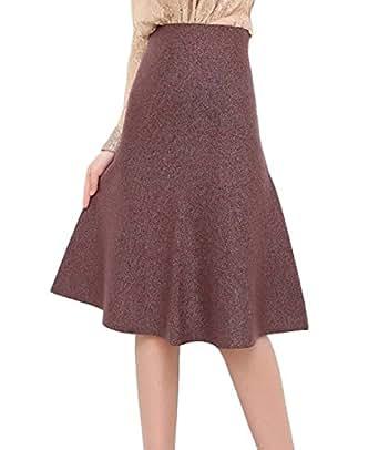 BININBOX® Dames jupe de laine jupe en tricot jupe A ligne Automne