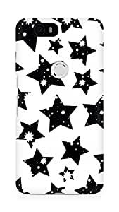 AMEZ designer printed 3d premium high quality back case cover for Huawei Nexus 6P (black and white stars)
