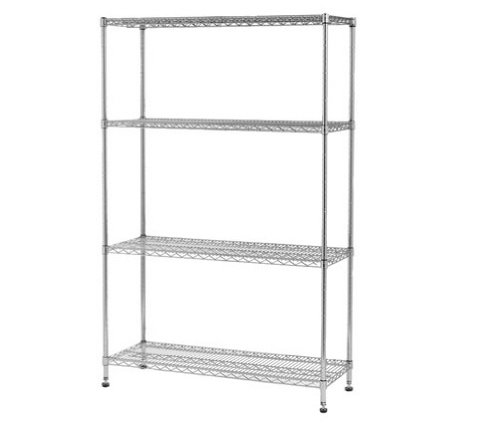 MULTI PURPOSE 4 tier chrome wire steel shelving unit SUITABLE FOR KITCHEN HOME OFFICE [Commercial High Quality Grade]