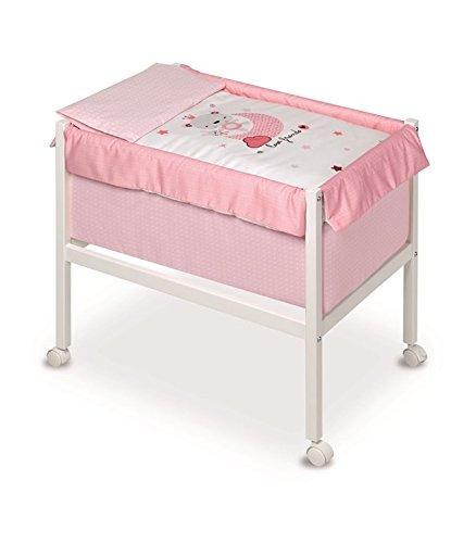 Pirulos 20012320–Minicuna quadrata, motivo Love Friends, 61x 90x 80cm, colore: bianco/rosa