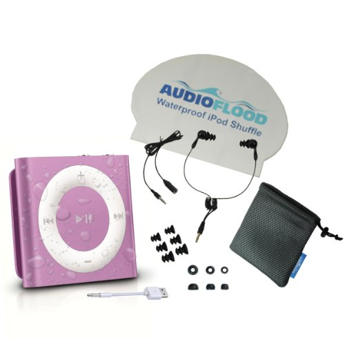 Waterproof Apple Ipod Shuffle By Audioflood With True Short Cord Headphones - Highest Rated Waterproof Mp3 Player On Amazon (Purple)