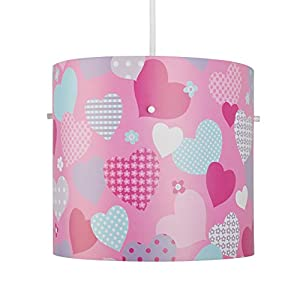 Colourful Pink, Red And Baby Blue Hearts And Flowers Children's Cylinder Ceiling Pendant Light Shade