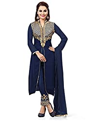 Blue Georgette Embroidered Unstitched Dress Material