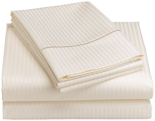 Renaissance Collection 600-Thread-Count Woven Cotton Stripe Queen Sheet Set, Ivory