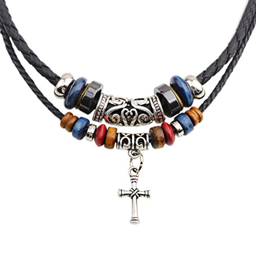 Real Spark Stylish 2 Layers Wood Beaded Strand Tibetan Charms Cross Pendant Braided Leather Tribal Necklace