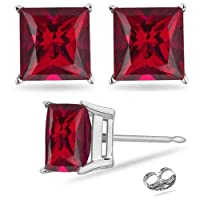 2.00 Carat Princess Ruby Red Cz Stud Earrings. Sterling Silver 925 Tarnish Free & Nickel Free Top Quality Rhodium Finish from Made in U.S.A