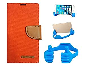 Aart Fancy Wallet Dairy Jeans Flip Case Cover for LenovoA-6000 (Orange) + Flexible Portable Mount Cradle Thumb OK Designed Stand Holder By Aart Store.
