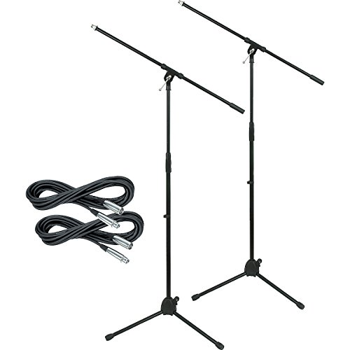 Musician'S Gear Tripod Mic Stand With 20 Foot Mic Cable 2-Pack (Standard)