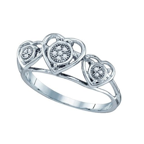 10K White Gold 0.03 ct. Diamond Heart Ring