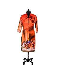 Ishi Maya Orange Digital Print Kurti - B00VNNVPAW