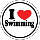 I Heart Swimming Round Decal