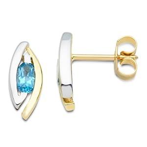 Miore - MH9016E - Boucles d'Oreilles Femme - Or bicolore 375/1000 (9 carats) 1.26 gr - Topaze Bleue