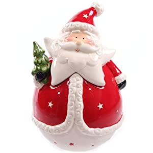 Jolly Red Santa Ceramic Cookie Jar: Amazon.co.uk: Kitchen & Home
