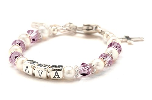 Personalized Children'S Crystal & Cultured Freshwater Pearl Bracelet -June Birthday - Growth Chain, Charm front-223987