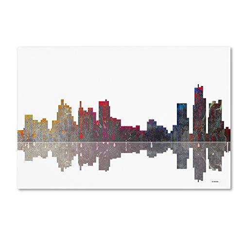 Trademark Fine Art Boston Massachusetts Skyline Wall Decor by Marlene Watson, 16 by 24
