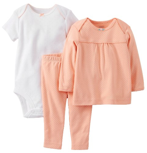Carter's Baby Girls' 3 Piece Layette Set (Baby) - Coral - 12 Months