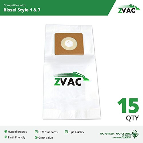 15 Bissell Style 1 + 7 Allergy Filtering Vacuum Cleaner Bags, Replaces Part # 32120 Fits PowerForce, PowerTrak, CleanView Bagless Vacuums Will Also Fit Samsung Quiet Storm and Quiet Jet By ZVac (Bissel Filters Style 7 compare prices)