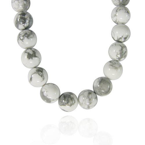 12mm Round Howlite Bead Necklace, 22+2