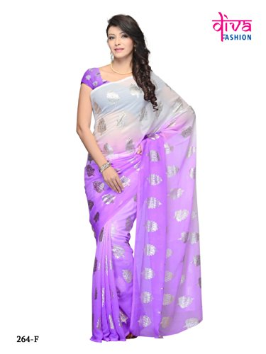 Lavender Color Georgette Casual wear fancy saree (violet)