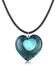 Akuamarina Collier pendentif coeur en verre Murano et feuille argent Bleu