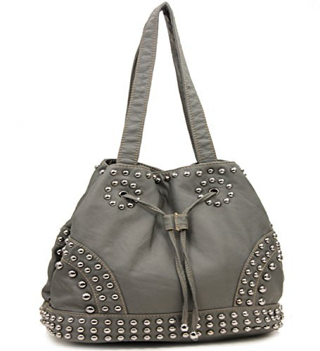 Grey Cinch Tie Stone Washed Studded Purse