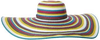 San Diego Hat Women's Striped Extra Large Brim Floppy Hat, Brights, One Size