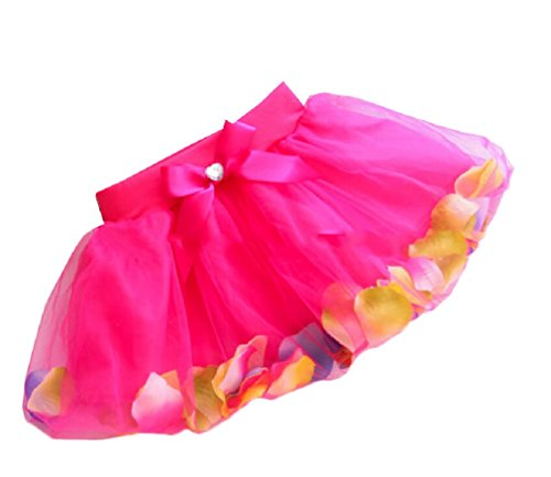 Shiny Toddler Girls Petal Skirt Birthday Party Tutu Dress Rose Red M/5