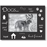 Sixtrees USA Dog Wood Expression Frame, 4 by 6-Inch, Black/Silver