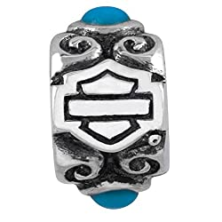 Harley-Davidson .925 Silver Turquoise Flower Ride Bead