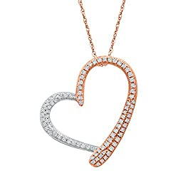1/3 ct Diamond Heart Pendant Necklace in 10K Rose Gold