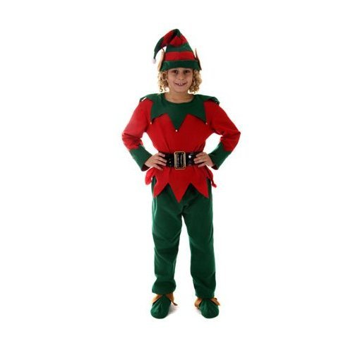 CHILD ELF COSTUME AGE 3-5, TOP + TROUSERS + BELT + HAT + SHOES [Kitchen & Home]
