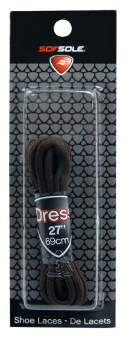 Sof Sole Round Dress Shoe Replacment Laces (Brown, 27-Inch)