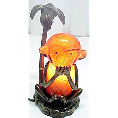 "Tiffany Style Monkey Stained Glass Lamp ""Speak No Evil"