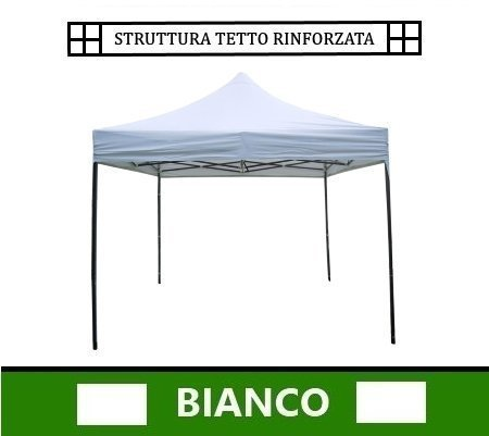 Gazebo pieghevole impermeabile in alluminio 3x3m Bianco per Fiere/Mercatini/Giardino (3816)