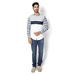 STRAK Mens' Pure Cotton Grey & White Striped Dotted Designer Boat Curve Style Shirt With Full Sleeve Size:-XL/44