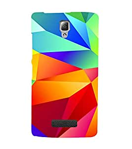 MULTICOLOURED DIAMOND SHAPED PATTERN 3D Hard Polycarbonate Designer Back Case Cover for Lenovo A2010
