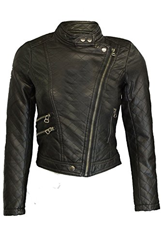 DA DONNA IN SIMILPELLE ELLOUGHTON GREENHOUSES BIKER A MANICHE LUNGHE SKINNY ZIP-UP GIACCA