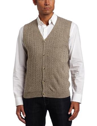 Geoffrey Beene Men's Sa Solid Vest, Mushroom, Medium